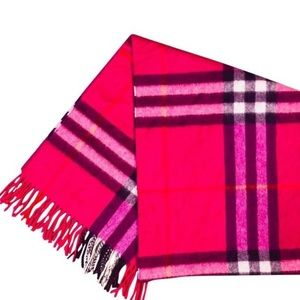 auth BURBERRY hot pink plaid CASHMERE scarf $490